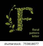 f letter eco logo isolated on... | Shutterstock .eps vector #753818077