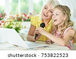 portrait of mother and daughter ...   Shutterstock . vector #753822523
