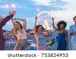happy friends making beach...   Shutterstock . vector #753824953