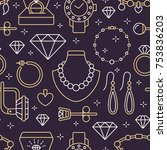 jewelry seamless pattern  line... | Shutterstock .eps vector #753836203