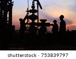 in the evening   oil field  the ... | Shutterstock . vector #753839797