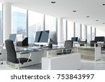open space office interior with ... | Shutterstock . vector #753843997