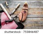 clobber's desk. tools  wooden...   Shutterstock . vector #753846487