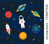 astronaut  planets and... | Shutterstock .eps vector #753847543