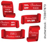 christmas sale paper banners ... | Shutterstock .eps vector #753847873