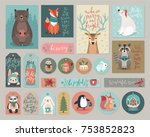 christmas cards and gift tags... | Shutterstock .eps vector #753852823