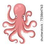 red octopus cartoon character.... | Shutterstock .eps vector #753864763