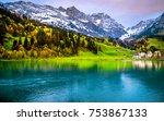 morning in the swiss town of... | Shutterstock . vector #753867133