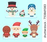 cute santa  little funny elf ... | Shutterstock .eps vector #753869383