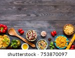 different types of pasta with... | Shutterstock . vector #753870097