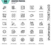 thin line creative process and... | Shutterstock .eps vector #753871633