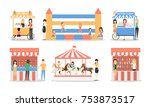 amusement park set.... | Shutterstock . vector #753873517