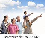 three generations family having ... | Shutterstock . vector #753874393