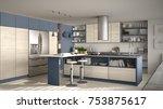 modern wooden kitchen with... | Shutterstock . vector #753875617