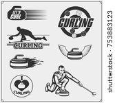 set of curling labels  emblems... | Shutterstock .eps vector #753883123