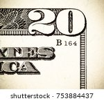 close up macro detail of dollar ... | Shutterstock . vector #753884437