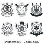 classy emblems  vector heraldic ... | Shutterstock .eps vector #753885337