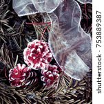 Small photo of Winter background: snowy fir tree with fir-cone and decoration white stripe. Traditional New Year and Christmas motive for greeting card in burgundy shades. Artistic retouching.