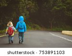 kids go to school   brother and ... | Shutterstock . vector #753891103
