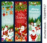 christmas banner set with new... | Shutterstock .eps vector #753899917