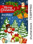 merry christmas greeting card... | Shutterstock .eps vector #753899983