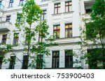 white luxury facade with green...   Shutterstock . vector #753900403