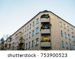 brown corner house in a street... | Shutterstock . vector #753900523