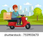 delivery man riding red motor... | Shutterstock .eps vector #753903673