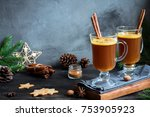 hot buttered rum cocktail with... | Shutterstock . vector #753905923