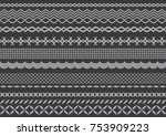 bunch of 12 pattern brush which ... | Shutterstock .eps vector #753909223