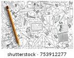 hand drawn mathematics vector... | Shutterstock .eps vector #753912277