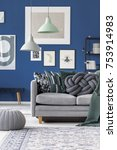 couch with gray knot pillow and ... | Shutterstock . vector #753914983
