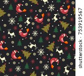 christmas seamless pattern with ... | Shutterstock .eps vector #753919567