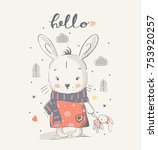cute little bunny gilrl with a... | Shutterstock .eps vector #753920257