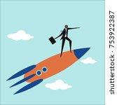 businessman standing on a... | Shutterstock .eps vector #753922387
