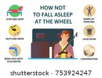 set of tips to stay awake while ... | Shutterstock .eps vector #753924247