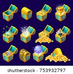 golden trophies in glowing... | Shutterstock .eps vector #753932797