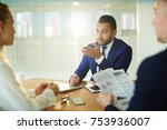 young agent in suit consulting... | Shutterstock . vector #753936007