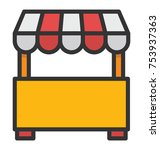 a vendor s stall near family...   Shutterstock .eps vector #753937363