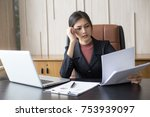 asian woman working  hard with... | Shutterstock . vector #753939097