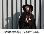 street portrait of fashionable... | Shutterstock . vector #753940333
