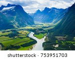 panoramic view on andalsnes... | Shutterstock . vector #753951703