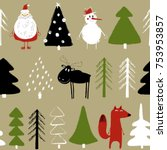 funny christmas seamless...   Shutterstock .eps vector #753953857
