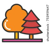 roadside trees in countryside   Shutterstock .eps vector #753959647