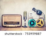 retro broadcast radio receiver  ... | Shutterstock . vector #753959887