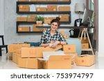 young entrepreneur  teenager...   Shutterstock . vector #753974797
