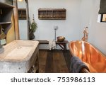 detail of bath room in country... | Shutterstock . vector #753986113
