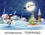 christmas landscape with... | Shutterstock .eps vector #753994363