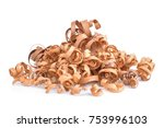 wood shavings isolated on white ... | Shutterstock . vector #753996103