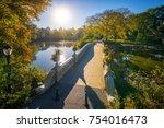 famous bow bridge in new york... | Shutterstock . vector #754016473